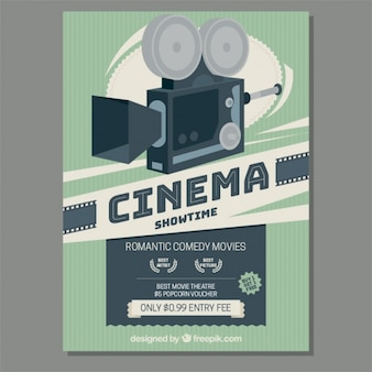 Retro movie camera poster