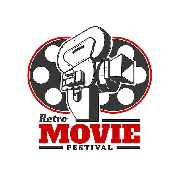 Retro movie festival icon. vector old camera with cinema film reels. cinematography industry event, film festival award ceremony and cinema author movie screenings icon or emblem