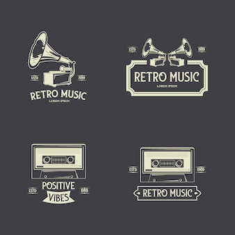 Retro music badges label collection