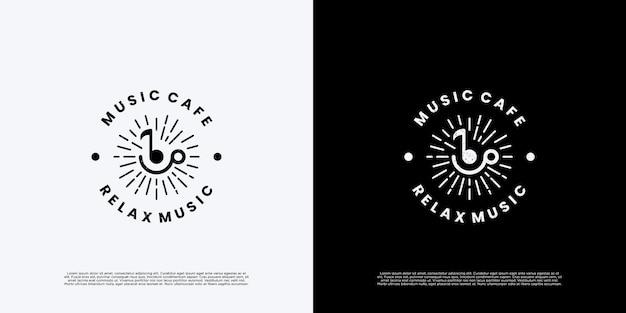 Значок дизайна логотипа кафе ретро музыки.