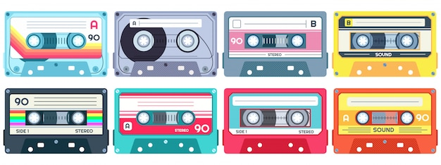 Retro music cassette. stereo dj tape, vintage  cassettes tapes and audio tape  set