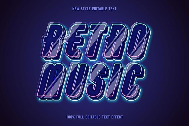 Retro music editable text effect color navy gradation