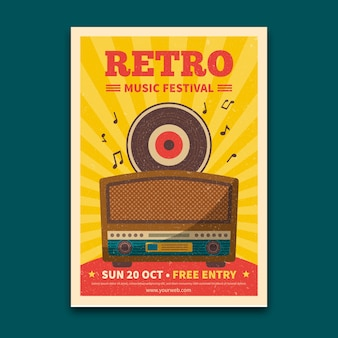 Retro music festival flyer template