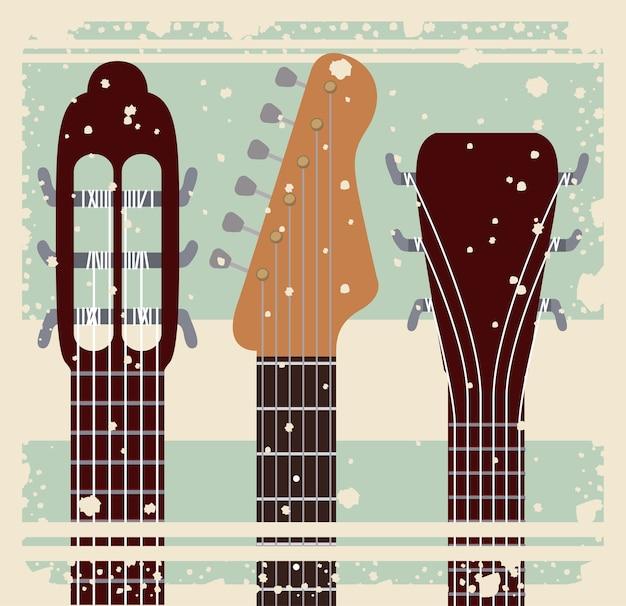복고풍 음악 축제 포스터 고립 아이콘 디자인