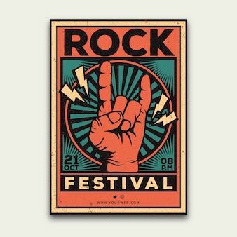 Retro music festival poster template