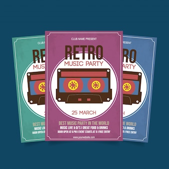 Retro music flyer template vector