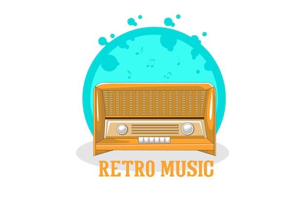 오래 된 라디오와 레트로 음악 일러스트 디자인
