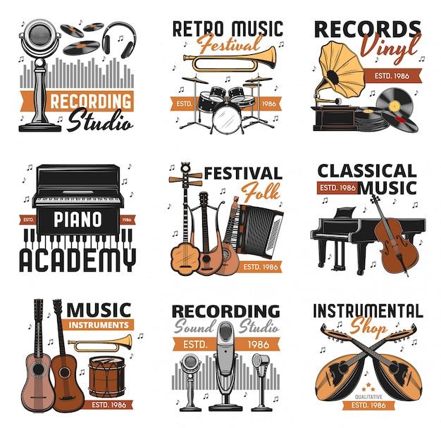 Retro music instruments, vinyl records shop icons