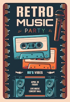 Retro music party flyer or poster