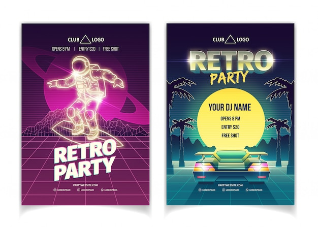 Retro music party poster set