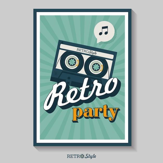 레트로 음악. 레트로 파티 포스터입니다. 카세트 테이프. 벡터 빈티지 아이콘 로고입니다.