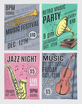 Ретро музыкальный плакат musicfest и джаз приглашение