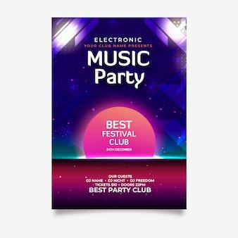 パーティーのためのレトロな音楽ポスターテンプレート