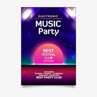 Retro music poster template for party