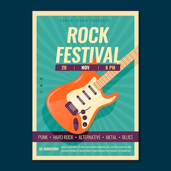 Retro music poster template with electric guitar