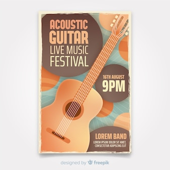 Retro music poster template with guitar