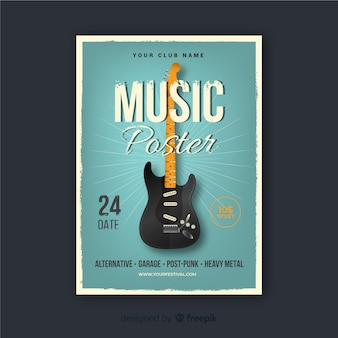 Retro music poster template
