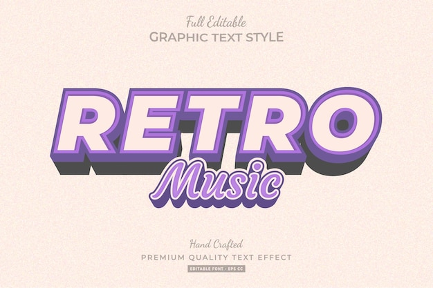 Retro music purple editable   text effect font style