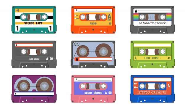Retro music tapes set