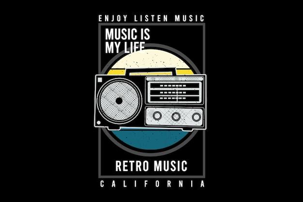 Retro music typography design with radio