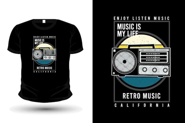 Retro music typography merchandise t shirt design with radio
