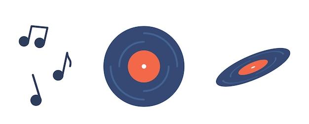 Ретро музыкальная виниловая пластинка, вид сверху и сбоку, музыкальные ноты. синий аудиодиск с красной этикеткой для старинного граммофона звуковой проигрыватель, круглая пластина на белом фоне. векторные иллюстрации шаржа