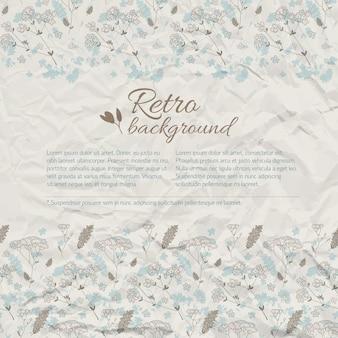 テクスチャのしわくちゃの紙にテキストの牧草地の花とレトロな自然の背景