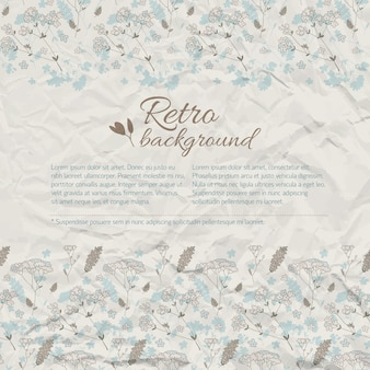 Retro natural background with text meadow flowers on textured crumpled paper