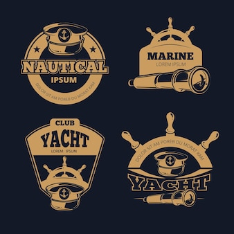 Retro nautical color labels on dark background.