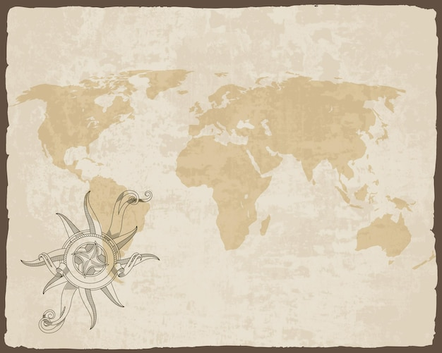 Retro nautical compass on old paper texture world map with torn border frame.