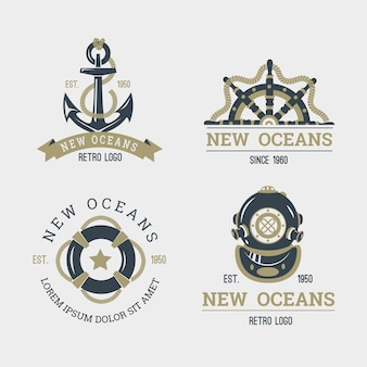 Retro nautical logo collection