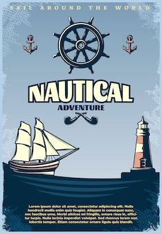 Retro nautical poster with title sail around the world nautical adventure headlines