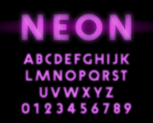 Retro neon alphabet font line