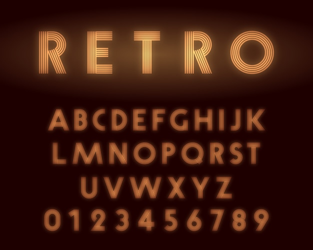 Retro neon alphabet font template