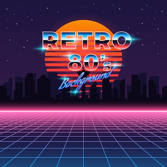 Retro neon background in 80's style