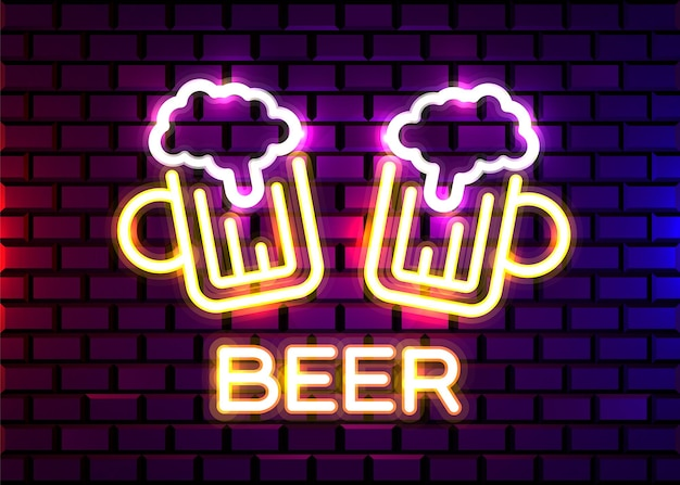 Retro neon beer bar sign on brick wall. neon design for bar, pub or restaurant business.