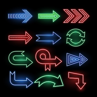 Retro neon direction arrow vector signs