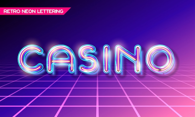 Retro neon glowing glass casino lettering with transparency and shadows