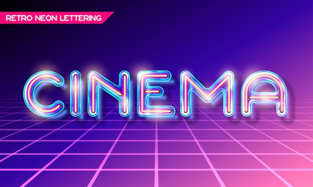 Retro neon glowing glass cinema lettering with transparency and shadows