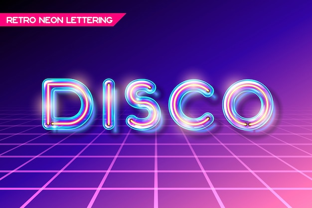 Retro neon glowing glass disco lettering with transparency and shadows
