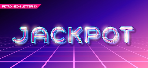 Retro neon glowing glass jackpot lettering with transparency and shadows