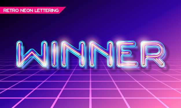 Retro neon glowing glass lettering winner with transparency and shadows