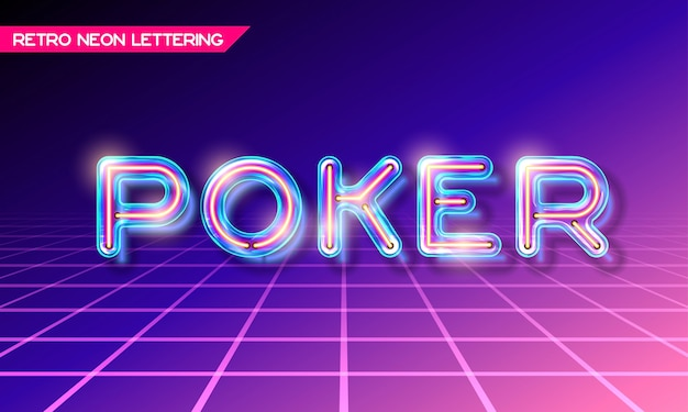 Retro neon glowing glass poker lettering with transparency and shadows
