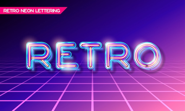 Retro neon glowing glass retro lettering with transparency and shadows