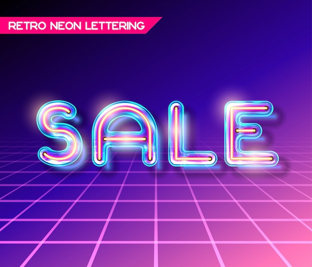 Retro neon glowing glass sale lettering with transparency and shadows