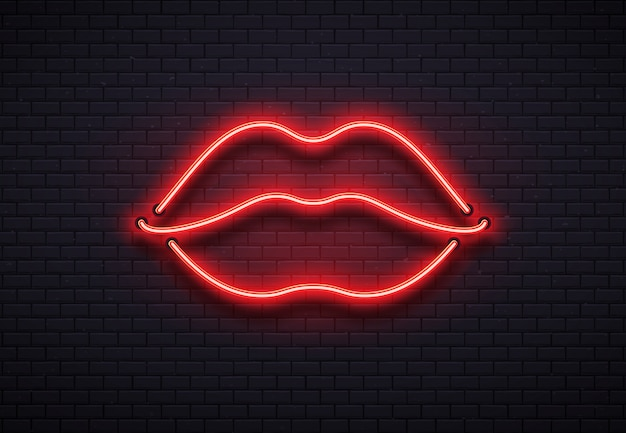 Retro neon lips sign. romantic kiss, kissing couple lip bar red neons lamps and valentine romance club vector illustration