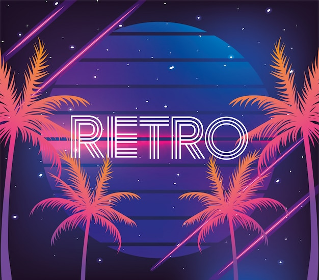 Retro neon palms and geometric graphic