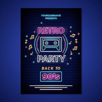 Poster di festa al neon retrò