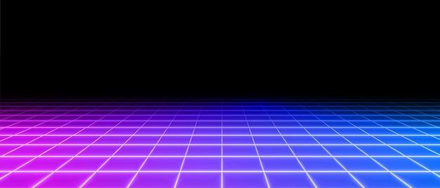 Retro neon perspective grid floor background
