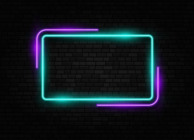 Retro neon sign led or halogen lamp border sign isolated on brick wall background
